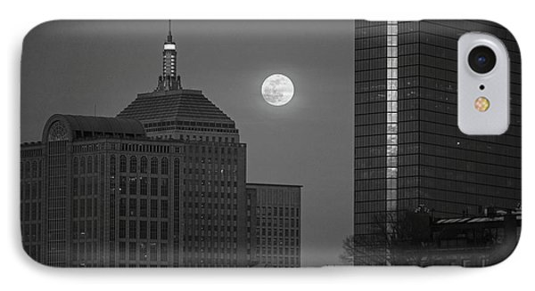 The Moon Rising Over Boston Black And White IPhone Case by Toby McGuire