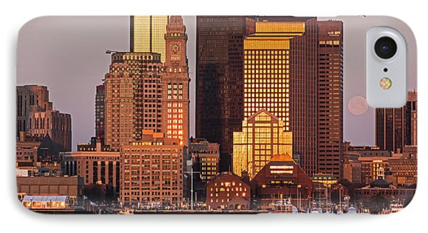 The Moon Setting In Boston Ma East Boston IPhone Case by Toby McGuire