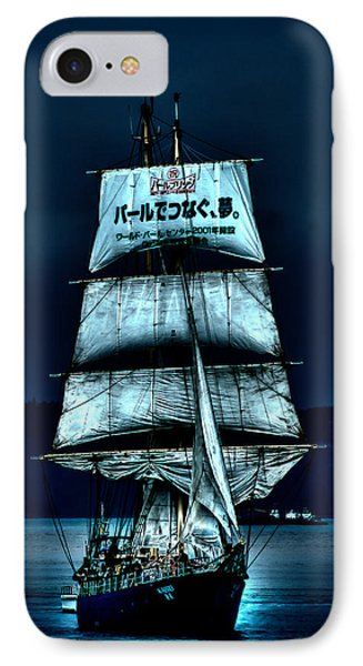 The Moonlit Kaisei Brigantine Tall Ship IPhone Case by David Patterson