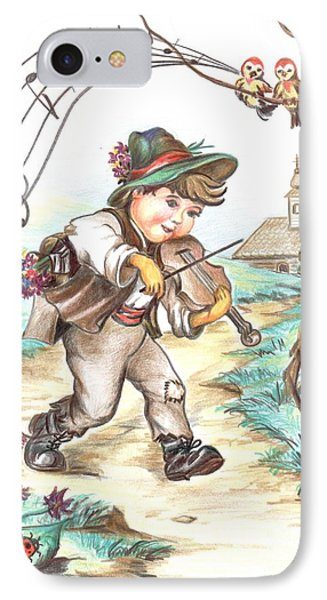 IPhone Case featuring the drawing The Musician by Sorin Apostolescu