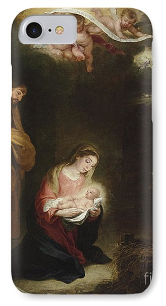 The Nativity With The Annunciation To The Shepherds Beyond IPhone Case by Bartolome Esteban Murillo