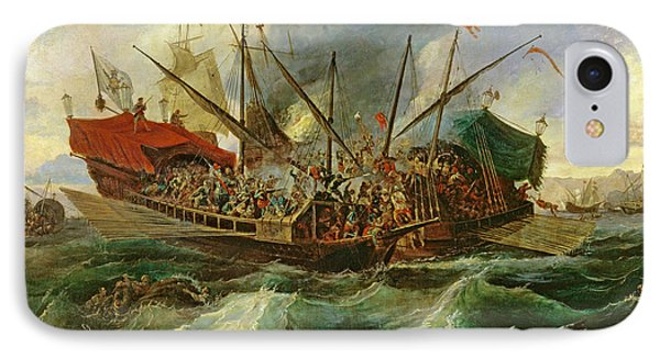 The Naval Battle Of Lepanto IPhone Case by Antonio de Brugada