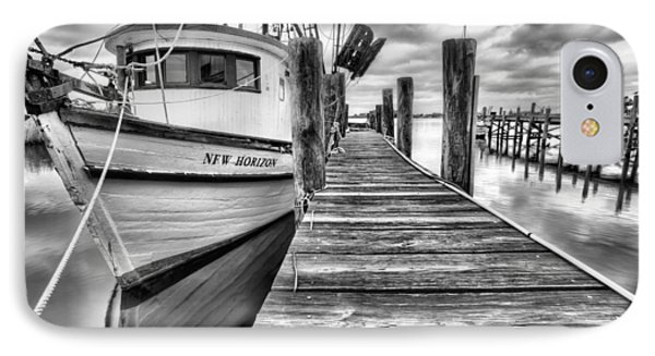 IPhone Case featuring the photograph The New Horizon Shrimp Boat Bw by JC Findley