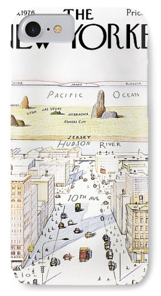Pacific Ocean iPhone 7 Case - New Yorker March 29, 1976 by Saul Steinberg