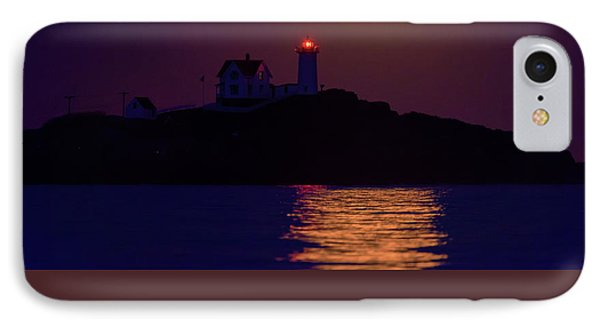 The Nubble And The Full Moon IPhone Case by Rick Berk