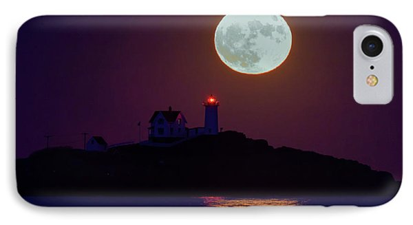 The Nubble And The Full Moon Phone Case by Rick Berk