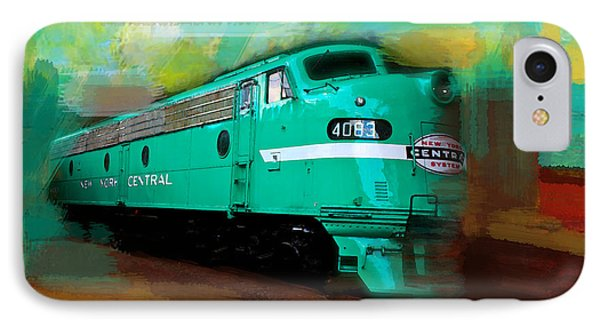 IPhone Case featuring the painting Flash II  The Ny Central 4083  Train  by Iconic Images Art Gallery David Pucciarelli