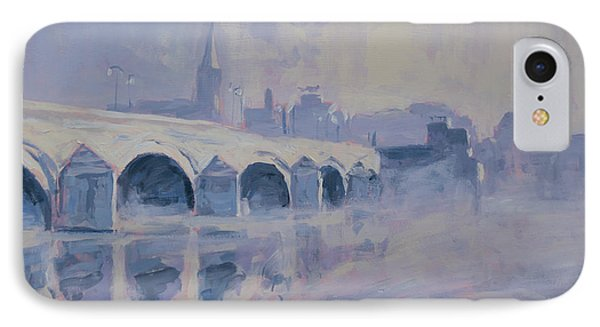 The Old Bridge Of Maastricht In Morning Fog IPhone Case by Nop Briex