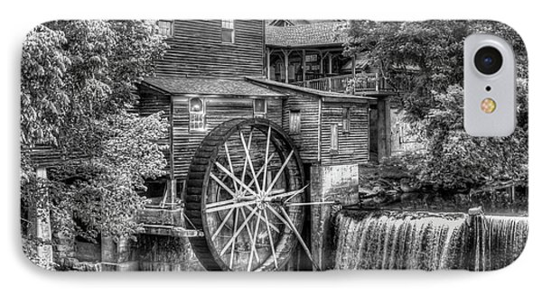 The Old Mill B W The Pigeon Forge Mill Art Great Smoky Mountains Art IPhone Case