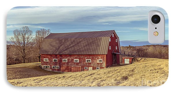 The Old Red Barn In Winter IPhone Case by Edward Fielding