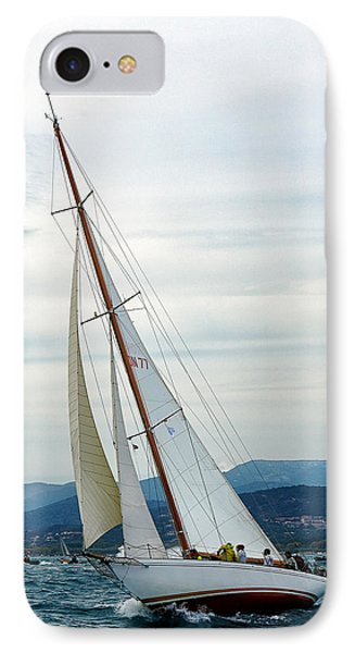 The Old Sailing Yacht At Competitions In The Gulf Of Saint Trope IPhone Case by Sergey Pro