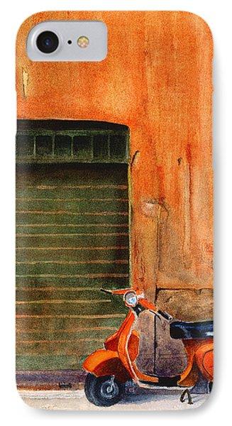 The Orange Vespa Phone Case by Karen Fleschler