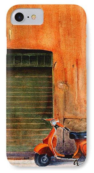 The Orange Vespa IPhone Case by Karen Fleschler