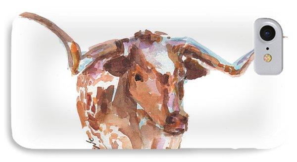 The Original Longhorn Standing Earth Quack Watercolor Painting By Kmcelwaine IPhone Case