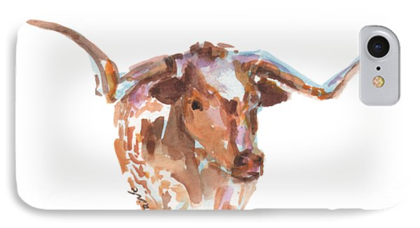 Cow iPhone 7 Case - The Original Longhorn Standing Earth Quack Watercolor Painting By Kmcelwaine by Kathleen McElwaine