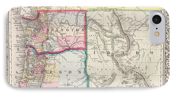 The Pacific Northwest Historical 1800s Map Phone Case by Toby McGuire