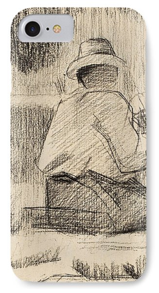 The Painter And His Palette IPhone Case by Georges Pierre Seurat