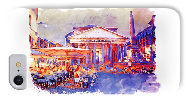The Pantheon Rome Watercolor Streetscape IPhone Case by Marian Voicu