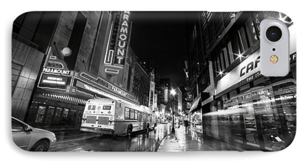 The Paramount On A Rainy Night Boston Ma Bus Black And White IPhone Case by Toby McGuire