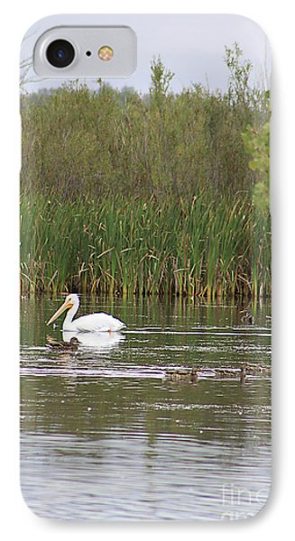 IPhone Case featuring the photograph The Pelican And The Ducklings by Alyce Taylor