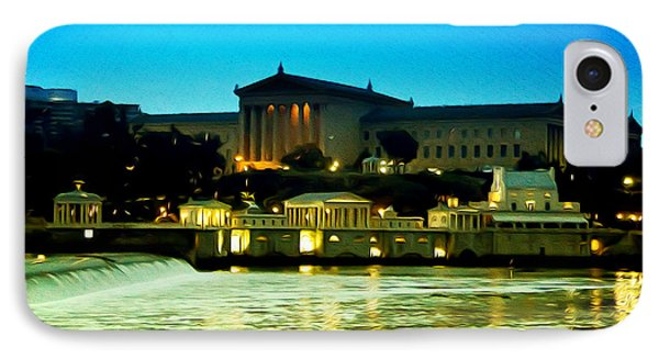 The Philadelphia Art Museum And Waterworks At Night Phone Case by Bill Cannon