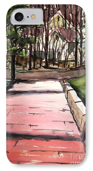 IPhone Case featuring the painting The Pink Road Off S Broadway Matted Glassed by Charlie Spear