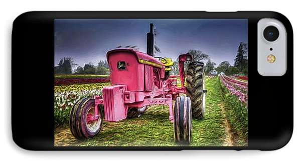 The Pink Tractor At The Wooden Shoe Tulip Farm IPhone Case by Thom Zehrfeld