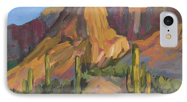 IPhone Case featuring the painting The Pinnacle At Goldfield Mountains by Diane McClary