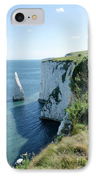 The Pinnacle Stack Of White Chalk From The Cliffs Of The Isle Of Purbeck Dorset England Uk Phone Case by Andy Smy
