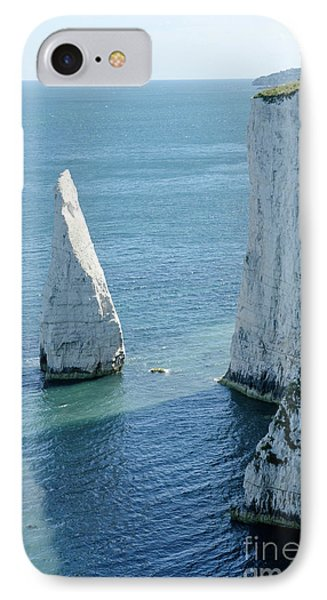 The Pinnacle Stack Of White Chalk On The Isle Of Purbeck Dorset England Uk Phone Case by Andy Smy