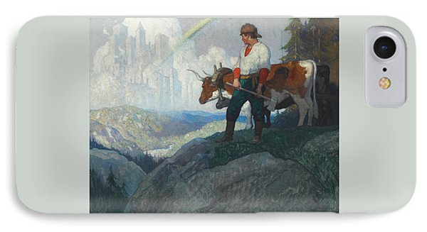 The Pioneer And The Vision IPhone Case by Newell Convers Wyeth
