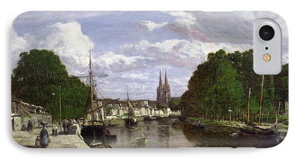 The Port At Quimper IPhone Case by Eugene Louis Boudin