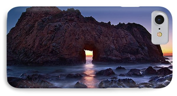 The Portal - Sunset On Arch Rock In Pfeiffer Beach Big Sur In California. IPhone Case