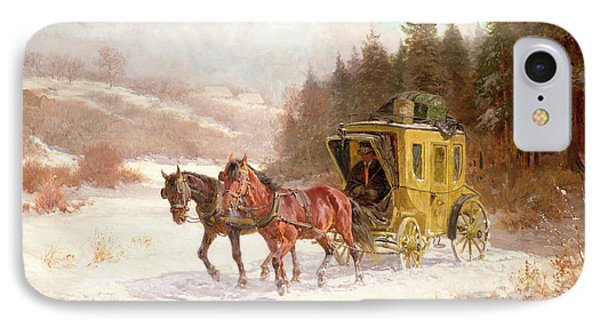 The Post Coach In The Snow Phone Case by Fritz van der Venne
