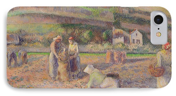 The Potato Harvest IPhone 7 Case by Camille Pissarro