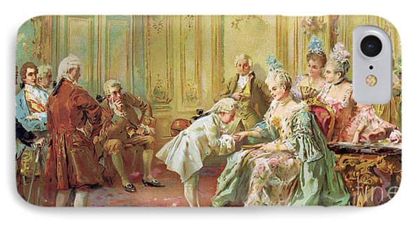 The Presentation Of The Young Mozart To Mme De Pompadour At Versailles IPhone Case by Vicente de Parades