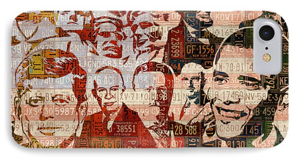 The Presidents Past Recycled Vintage License Plate Art Collage IPhone Case by Design Turnpike