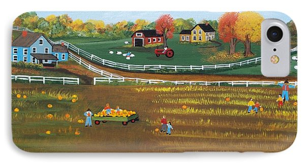 IPhone Case featuring the painting The Pumpkin Patch by Virginia Coyle