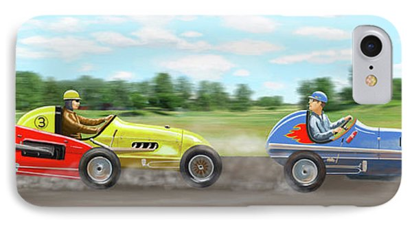 IPhone Case featuring the digital art The Racers by Gary Giacomelli