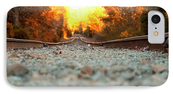 IPhone Case featuring the digital art The Railroad Tracks From A New Perspective by Chris Flees