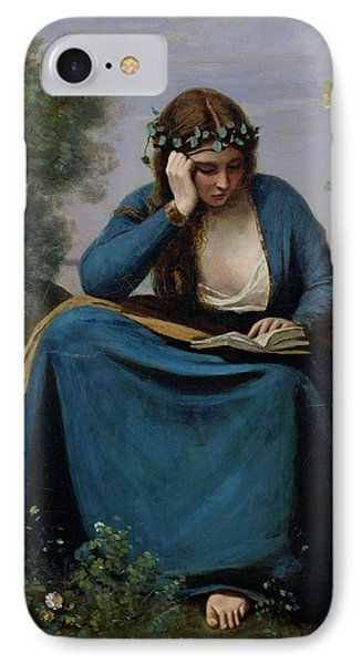 The Reader Crowned With Flowers IPhone 7 Case by Jean Baptiste Camille Corot