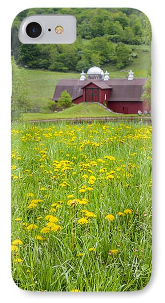 IPhone Case featuring the photograph The Red Barn And Dandelions by Paula Porterfield-Izzo