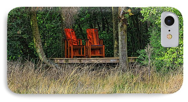IPhone Case featuring the photograph The Red Chairs by Deborah Benoit
