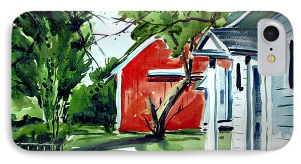 IPhone Case featuring the painting The Red Oxide Barn Matted by Charlie Spear
