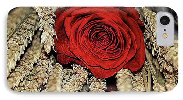 IPhone Case featuring the photograph The Red Rose On A Bed Of Wheat by Diana Mary Sharpton