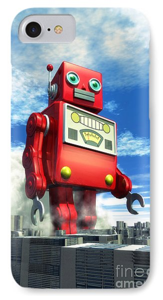 The Red Tin Robot And The City IPhone 7 Case by Luca Oleastri
