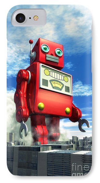 The Red Tin Robot And The City IPhone Case by Luca Oleastri