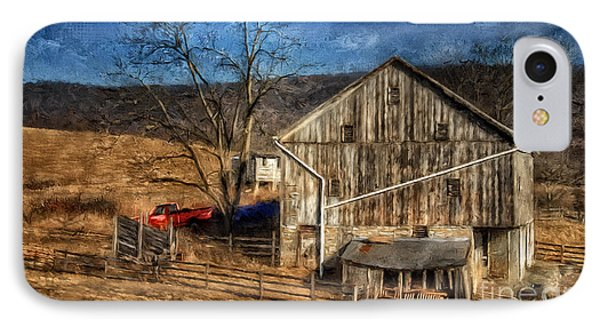 The Red Truck By The Barn IPhone Case by Lois Bryan