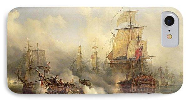 Boat iPhone 7 Case - Unknown Title Sea Battle by Auguste Etienne Francois Mayer