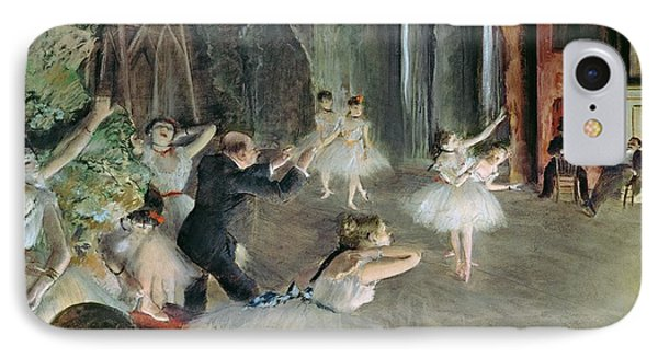 The Rehearsal Of The Ballet On Stage IPhone Case by Edgar Degas